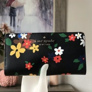 Kate spade bifold wallet staci sailing floral black • firm price Holiday shop •
